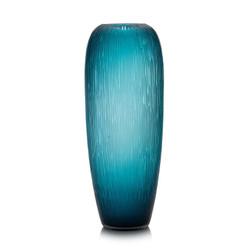 Carved Teal Glass Vase
