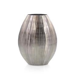 Smoky Black Chiseled Oval Vase I