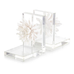 Set of Two Porcelain Petals and Crystal Bookends