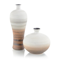Set of Two Hand-Painted Porcelain Vases