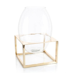 Glass Container in Brass Stand - Short