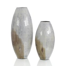 Set of Two Enameled Vases in Shades of the Earth
