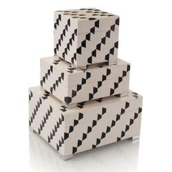 Set of Three Black-and-White Boxes