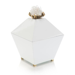 Crystal Quartz and Brass Cluster on White Box