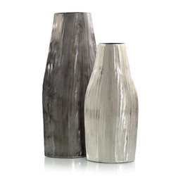 Set of Two Smoky Black and Nickel Etched Metal Vases