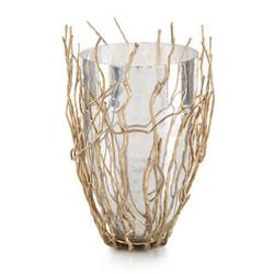 Sapling-Encased Silvered Glass Vase