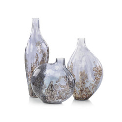 Set of Three Sky-Gray Crackled Glass Vases