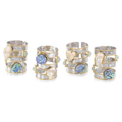 Set of Four Abalone and Pearl Napkin Rings