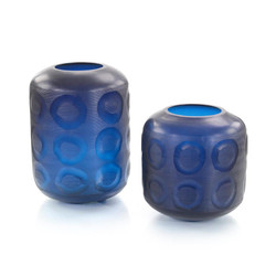 Set of Two Sapphire Blue Glass Vases