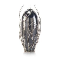 Sapling-Encased Smoky Glass Jar