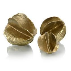 Set of Three Brass Spheres of Flowing Waves
