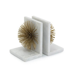 Gold Bursts on White Marble Bookends