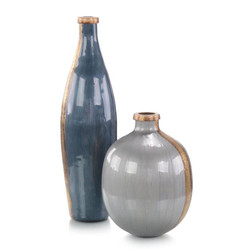 Set of Two Enameled in Grey and Gold Vases