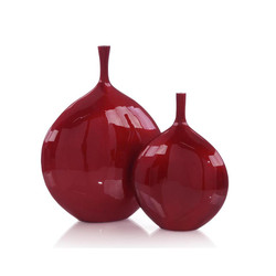 Set of Two Cherry Red Metal Bottles