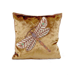 Olive Green Velvet Pillow with Dragonfly