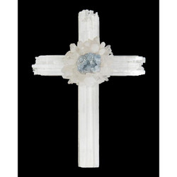 Selenite Cross with Celestite