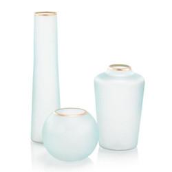 Set of Three Whisper Blue Glass Vases