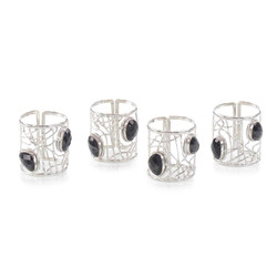 Set of Four Black Onyx and Nickel Napkin Rings
