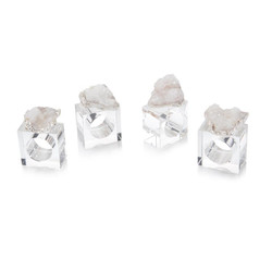 Set of Four White and Silver Geode Napkin Rings