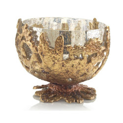 Brass Casting Encases Mercury Glass Bowl