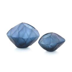 Set of Two Asymmetrical Azure Bowls