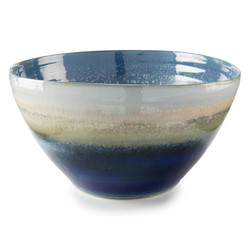 Reactive Blue and Cream Bowl - Large