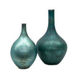 Set of Two Peacock Blue Iridescent Vases