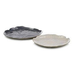 Set of Two Deep Cerulean Blue and Cream Trays