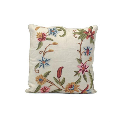 Taupe Silk Pillow with a Crewel Floral Border