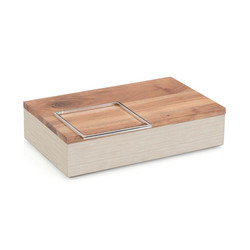 White Confetti Leather and Wood Box I