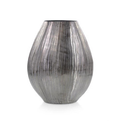 Smoky Black Chiseled Oval Vase II