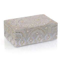 Hand-Beaded Box II - Grey