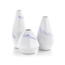 Set of Three Lavender Wave Glaze on White Porcelain Vases