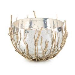 Sapling-Encased Silvered Glass Bowl