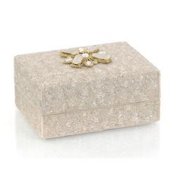 Hand-Beaded Box I - Cream