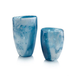 Set of Two Skies of Blue and Clouds of White Glass Vases