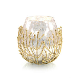 Brass Twig and Mirrored Glass Bowl