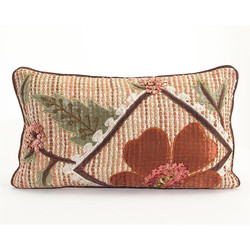 Copper Ribbon Weave Pillow with Floral Applique - Lumbar