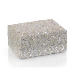 Hand-Beaded Box I - Grey
