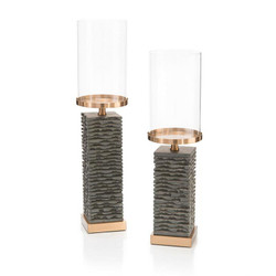 Set of Two Stacked Gray Marble Candleholders