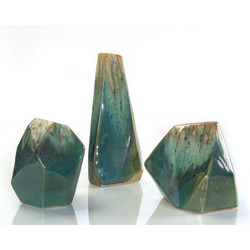 Set of Three Turquoise and Cream Ceramic Rocks