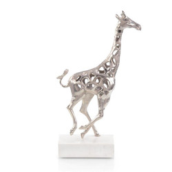 Giraffe in Motion I - Silver