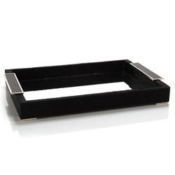 Black Leather and Mirror Tray