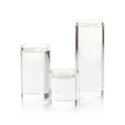 Set of Three Pillar Crystal Candleholders
