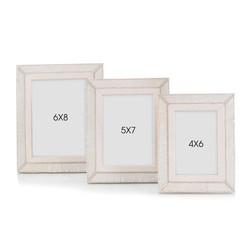 Set of Three Cream Leather Photo Frames
