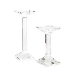 Set of Two Square Crystal Candlesticks