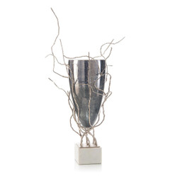 Profusion of Saplings in Nickel with Glass Vase