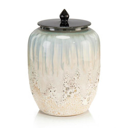 White and Smalt Blue Lidded Jar I