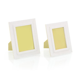 Set of Two Warm White Leather Photo Frames