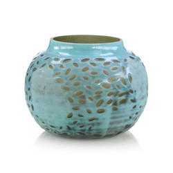 Turquoise and Green Engraved Glass Vase